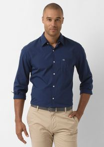 Slim-Fit Striped Poplin Shirt with Detachable Collar @Lacoste