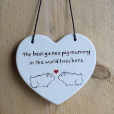 Hanging Ceramic Guinea Pig Heart - 'The best guinea pig mummy in the world lives here.'