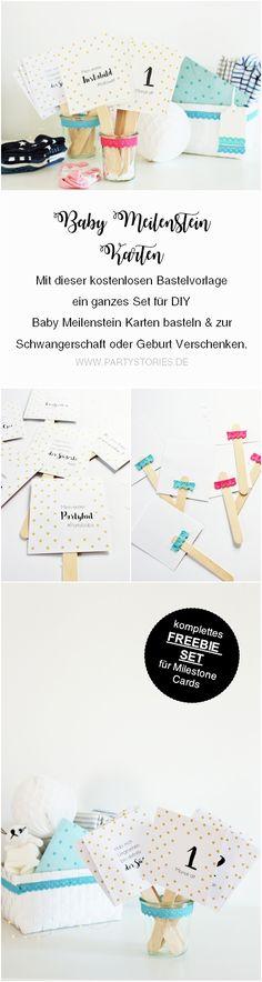 DIY Baby Meileinstein Karten // Mit dieser Bastelanleitung und Freebie Bastelvorlage kannst Du deine ganz eigenen Baby Milestone cards als Geschenk Idee zur Schwangerschaft oder Geburt selber machen, gefunden auf www.partystories.de