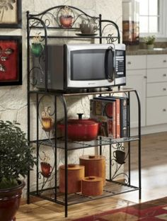 Our Microwave Stand Is A Convenient And Stylish Spot For Your Microwaveand So Much More It Has Sy Tubular Metal Frame 3 Shelves Composite