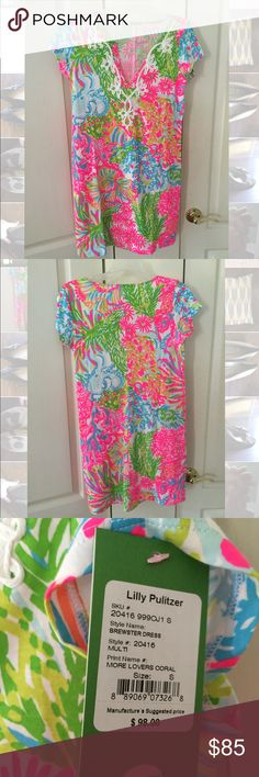 Lily Pulitzer T shirt dress NTW sz Small Brewster t shirt dress in Multi More Lovers Coral. BRAND NEW w tags never worn or washed. I just bought it and it's too short, I should have sized up :/ Fits true to a small though. Lilly Pulitzer Dresses Mini