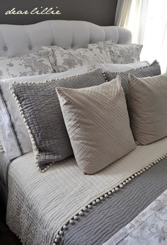Our Gray Guest Bedroom and a Full Source List by Dear Lillie ** Lots of varying color/texture to make it less boring gray Bedding Master Bedroom, Gray Bedroom, Grey Bedding, Guest Bedrooms, Home Decor Bedroom, Bedding Sets, Luxury Bedding, Bedroom Ideas, Upstairs Bedroom