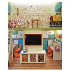 Kids Play loft is a great fun use of space for tall ceilings in garage...would add a slide to come down too though. Good idea for a cheap railing.