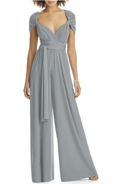 Slate jumpsuit gone chic: http://www.stylemepretty.com/2017/10/22/unique-maid-of-honor-dresses/