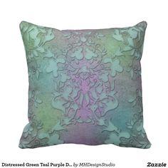 6ba9837e838 Distressed Green Teal Purple Damask Modern Art Throw Pillow