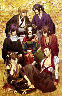 Heisuke, Harada, Saitou, Okita, Chikage, and Hijikata surrounding geiko Chizuru. -- Anime, Hakuouki, official art, otome game, characters, cute, friends