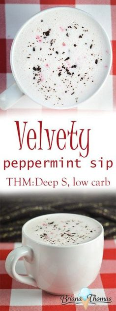 Velvety Peppermint Sip (Bulletproof-style) - THM: Deep S, low carb, sugar free, gluten/egg free with nut free suggestion paleo for beginners trim healthy mamas Trim Healthy Mama Plan, Trim Healthy Recipes, Thm Recipes, Ketogenic Recipes, Baking Recipes, Recipes Dinner, Drink Recipes, Free Recipes, Juice Recipes