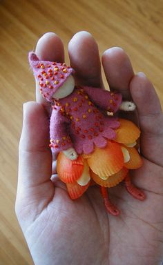"Flower Fairy ...another ""felt wee folk"" inspired by a strong desire to make French knots.
