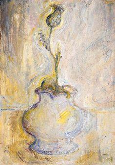 Tóth Menyhért (1904-1980) Mákvirág vázában Vintage World Maps, Still Life, Painting, Art, Vintage