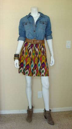 Daily Look:  CAbi Spring '13 Ikat Bella Skirt and Weave it to Me Belt with fall's Tavern Shirt and booties.