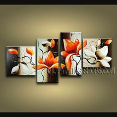 Stunning Contemporary Wall Art Hand-Painted Art Paintings For Living Room Tulip Flower. This 4 panels canvas wall art is hand painted by Bo Yi Art Studio, instock - $128. To see more, visit OilPaintingShops.com