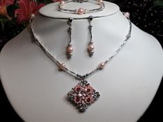 Pink Butterfly & Crystal Pendant W/ Pink Pearls (Handmade) 3 piece set    Manufacturer: N/A  SKU: CLC103  Price: $45.00