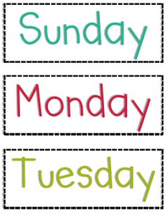 ... the week and months of the year labels in three different colors. More