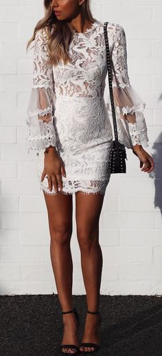 #summer #outfits White Lace Dress