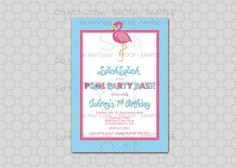 Flamingo Birthday Invitation  Pool Party Bash by SwishPrintables