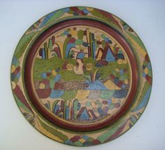 """Vintage Tlaquepaque charger with """"petatillo"""" (cross hatch) background pattern!  Stunning!    http://www.mexicana-nirvana.com/catalog/item/7703673/9881143.htm"""