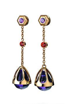 Penntes Con Cadenas Doradas Y Amatistas Talladas De Baccarat Gemstone Earrings Moonstone Jewelry