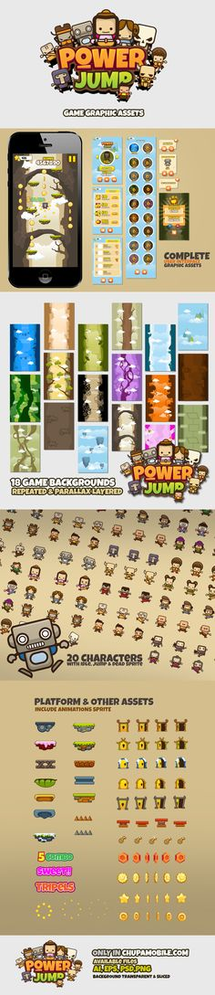Buy Jump Game Bundle Full Applications For UI Graphic Assets | Chupamobile.com