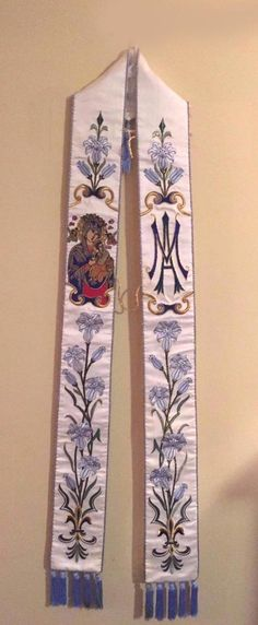 http://www.ebay.com/itm/Embroidered-Vestment-Stole-AM-with-Mary-in-white-silk-lilies-STUNNING-/222205876408?hash=item…