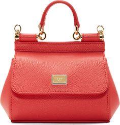 Dolce & Gabbana Coral Leather Miss Sicily Mini Shoulder Bag