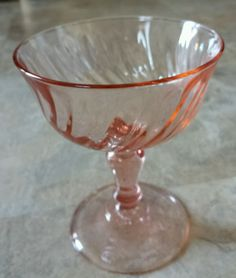 "Wine Water Champagne Glasses France Rosaline Pink Swirl Excellent 4.5"" Tall"