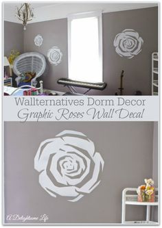 Wallternatives removable wall decal sticker for wall decor floral flower roses modern contemporary dorm room decor for college - Decorated by A Delightsome Life