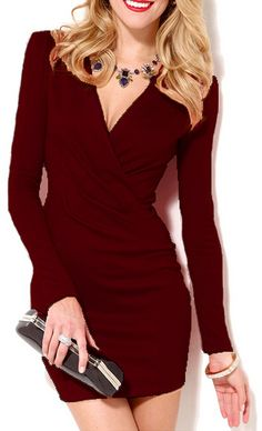 Deep V Neck Long Sleeve Bodycon Wine Red Dress