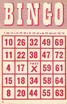 Free printable vintage BINGO cards. #printables #downloadable #scrapbooking #crafts