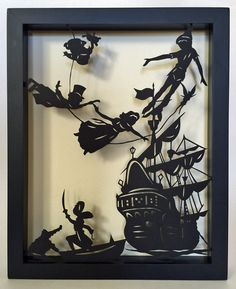 Sale 15% Off // PETER PAN Papercut in Shadow Box  by tinatarnoff