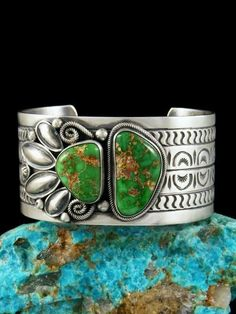 Native American Sterling Silver Carico Lake Turquoise Bracelet #NativeAmericanJewelry