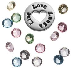 """Blue La Rue Crystal Silver-Plated """"Live Love Laugh"""" Charm Set ($14) ❤ liked on Polyvore featuring jewelry, pendants, multicolor, crystal charms, heart charm, heart jewelry, locket charms and swarovski crystal jewelry"""