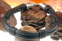 2B-592 Aussie Made Sterling Silver & Leather New Surf  Wristband Men Bracelet.