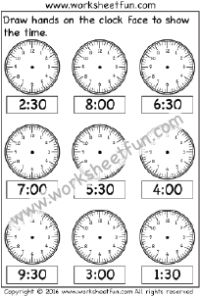 Time – Draw hands on the clock face – 1 Worksheet