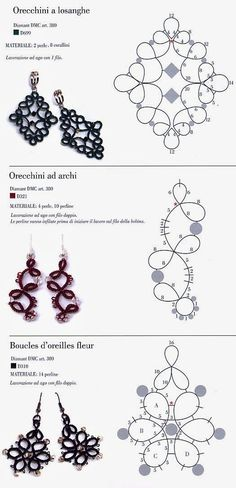 SCHEMES FOR FREE tatting: VARIOUS SCHEMES FOR Earrings tatting