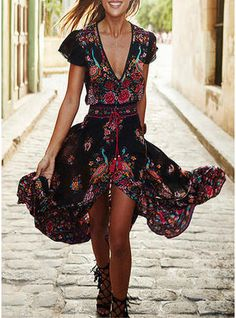 Print Bohemian Floral Slit V-neck Maxi Shift Dress ☮   ° ♥ ˚ℒℴѵℯ 7103e91ff6f