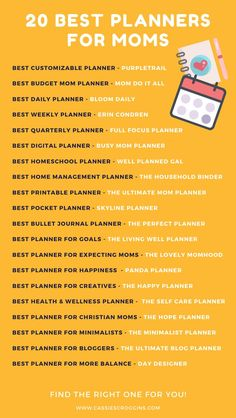 This is the best list of planners for moms! With different categories and planners to fit specific needs, it's a much check out for all moms! Best planners for moms | 2020 | 2021 | erin condren | happy planner | families | free printables | time management | homeschool mom | homeschool planner | working mom | #planners #momplanner #cassiescroggins Best Planners For Moms, Best Weekly Planner, Mom Planner, Happy Planner, Work From Home Moms, Make Money From Home, Office Hacks, Mom Schedule, Every Mom Needs