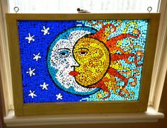 Celestial stained glass window in bold colors by Lightofmineglass, $150.00