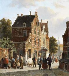 Adrianus Eversen (1818-1897), Straatbeeld Naarden, 1853.