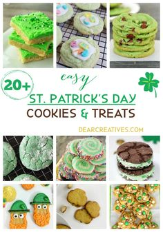 Patty's day by making Treats and Cookies. Do a jig and put a little green, mint, sparkle or rainbow in your recipes. Icebox Cake Recipes, Cookie Recipes, Dessert Recipes, Desserts, Easy Treats To Make, How To Make Cookies, Sugar Cookie Bars, Baking Cookies, St Patrick's Day Cookies