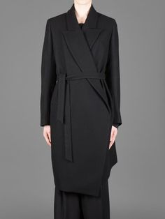 ANN DEMEULEMEESTER LONG COMFORT COAT WITH WAISTBAND AND CONTRAST TRIM AND TWO WELT POCKETS