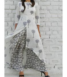 Grey High Low Cape with Base Grey Floral Wide Leg Pants – Alaya The Storehouse Kurta Designs Women, Kurti Neck Designs, Blouse Designs, High Neck Kurti Design, Salwar Designs, Dress Designs, Indian Dresses, Indian Outfits, Indian Clothes