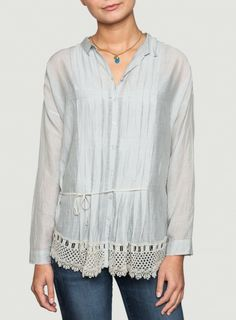 Johnny Was Lace Trim Cotton Martha Blouse in Grey - WEB EXCLUSIVE #romantic #bohochic #springstyle
