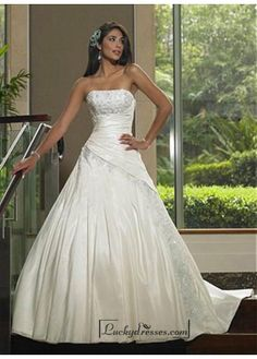 Beautiful Elegant Taffeta A-line Strapless Wedding Dress In Great Handwork Sale On LuckyDresses.com With Top Quality And Discount