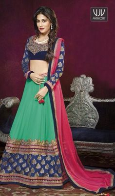 Chitrangada Singh Sea Green Georgette Lehenga Choli  Chitrangada singh sea green georgette lehenga choli lining designed with embroidery, resham, zari, bead, lace and patch border work.
