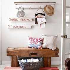 Use that antique or flea market find rustic bench to add style, organization and a vintage touch to nearly any room in your home. We show you 10 different ways to style a rustic bench including using it at the foot of the bed, placing it in your entryway, using it as extra shelving in the bathroom or having farmhouse bench seating in your kitchen.