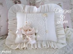 romantic victorian shabby chic decor | Romantic Whites Ruffled Sachet Pillow Original Designs By Lynn