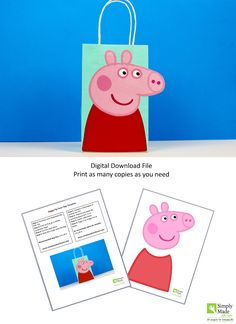 DIY Peppa Pig Favor Bags. Simply Download, Print, Cut and Paste. Does not include the favor bags.