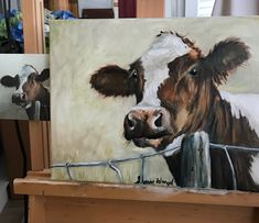 Farm Paintings, Animal Paintings, Animal Drawings, Cow Paintings On Canvas, Cow Pictures, Farm Art, Cow Art, Diy Canvas Art, Painting Inspiration