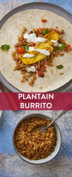 We have teamed up with Great British Chefs to bring you this plantain burrito with zesty salsa and fluffy Tilda Easy Cook Long Grain Rice. Rice Recipes, Vegan Recipes, Savoury Recipes, Vegan Food, Vegan Meals, Vegan Dishes, Dried Rice Recipe, Burritos, Vegane Rezepte