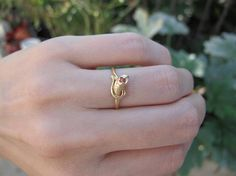 Vintage 18k Yellow Gold Ruby Snake Engagement Ring